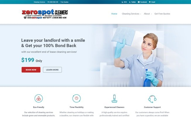 Zero Spot Cleaners Website Design
